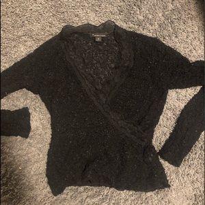 sheer lace long sleeve black top medium
